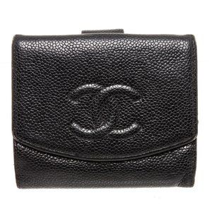 Chanel Black Leather Timeless Compact Wallet
